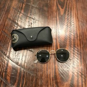 Black and Gold Round Metal Raybans